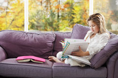 Young girl homework time Royalty Free Stock Image