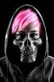 Young girl hood skull mask fashion hair pink Royalty Free Stock Photos