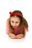 Young girl with horns imp Stock Image