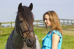 Young girl with horse Royalty Free Stock Photography