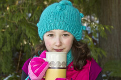 Young girl, hot cocoa cup Royalty Free Stock Photography
