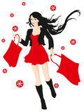 Young girl hurry on sale with shopping bags Stock Photos