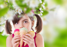 Young girl with ice cream Royalty Free Stock Photography