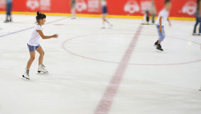 Young girl at the ice rink. Royalty Free Stock Images