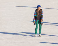 Young girl at the ice rink outdoor Stock Photo