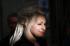 Young girl in the image of Daenerys Targaryen. Moscow, Russia - June 18, 2014: Young girl in the image of Daenerys Targaryen from a Game of Thrones. Public event Stock Photography