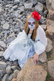 Young girl in the image of Santa Muerte Royalty Free Stock Photos