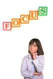 Young Girl In Focus Posture. Stock Photos