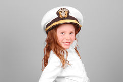 Young Girl In Sailor Hat Royalty Free Stock Photos