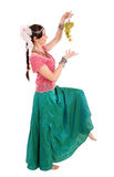 Young girl in the Indian national dress with grapes Royalty Free Stock Photos