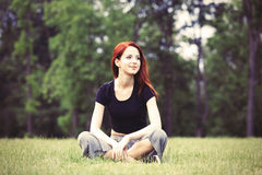 Young girl in indie style clothes Royalty Free Stock Image