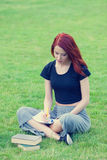 Young girl in indie style clothes with Stock Photo