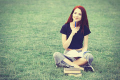 Young girl in indie style clothes with Stock Photos