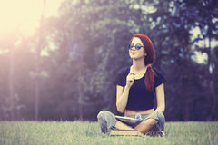 Young girl in indie style clothes with Stock Image