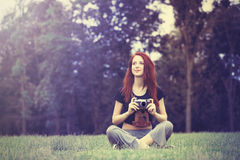 Young girl in indie style clothes Royalty Free Stock Photography