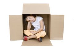 Young girl inside a Box Royalty Free Stock Photography