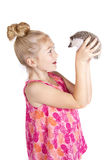 A young girl inspecting her pet hedgehog. Isolated on a white background Royalty Free Stock Photography
