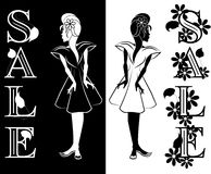 Young Girl Interested in Sale. Drawn in black and wight. Word SALE decorated by ornate of leafs and flowers Stock Photography