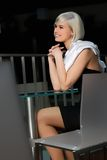 Young girl during an interview at a restaurant Stock Photo