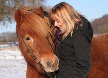 Young Girl with an Islandic horse Stock Photos
