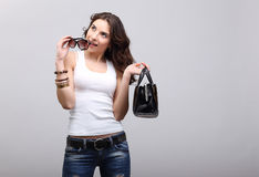 Young girl in jeans. royalty free stock image