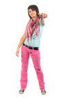 Young Girl Jeans In A Torn Pink Jeans. Stock Image