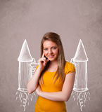 Young girl with jet pack rocket drawing illustration. Cute young girl with jet pack rocket drawing illustration stock image