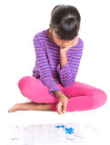 Young Girl With Jigsaw Puzzle Piece IV Stock Images