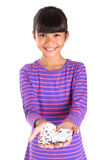 Young Girl With Jigsaw Puzzle Piece XI Royalty Free Stock Images