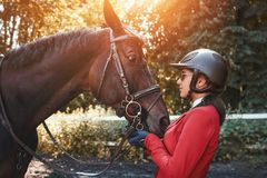 A young girl jockey talking to her horse. She loves the animals and joyfully spends her time in their environment royalty free stock photography