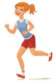 Young girl jogging. Vector illustration.  on white background Royalty Free Stock Photo