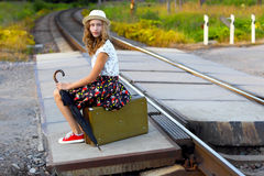 A young girl in the journey.Summer vacation Royalty Free Stock Photography