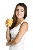 Young girl with juice Royalty Free Stock Images