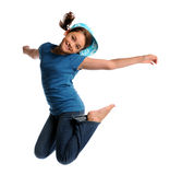 Young Girl Jumping. Portrait of young girl jumping isolated over white background Stock Images
