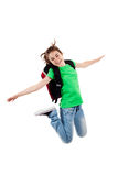 Young girl jumping. Girl jumping, running isolated on white background Stock Photos