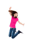 Young girl jumping. Girl jumping, running isolated on white background stock images