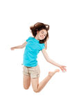 Young girl jumping. Girl jumping, running isolated on white background Royalty Free Stock Photography