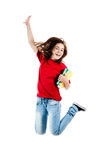 Young girl jumping. Girl jumping, running isolated on white background Royalty Free Stock Image
