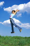 Young girl jumping Stock Photo