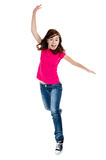 Young girl jumping. Girl jumping, running isolated on white background royalty free stock photo