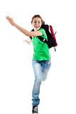 Young girl jumping. Girl jumping, running isolated on white background Stock Image