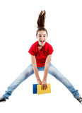 Young girl jumping. Girl jumping, running isolated on white background Royalty Free Stock Photos