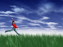 Young girl  jumping. Happy young girl  jumping with stormy clouds on the background Stock Photos