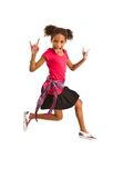 Young girl jumping in air Royalty Free Stock Photography