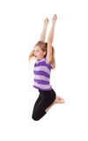 Young girl jumping. Happy girl jumping isolated in white Stock Image