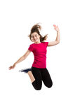 Young girl jumping. Girl jumping, running  on white background Royalty Free Stock Photography