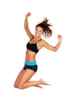 Young girl jumping with sportwear Royalty Free Stock Photos