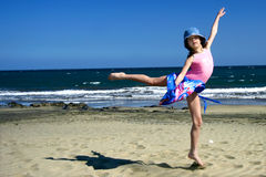 Young girl jumps up high Royalty Free Stock Images