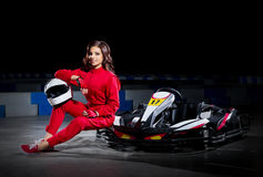 Young girl karting driver Royalty Free Stock Photos