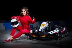 Young girl karting racer Royalty Free Stock Photos